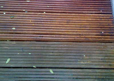 Treated deck over untreated deck