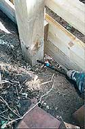 Drilling a fence post for Boron Rod insertion